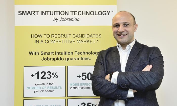 Il CPO e Vice Presidente di Analytics di Jobrapido Jean-Pierre Rabbath durante la presentazione di Smart Intuition Technology, la soluzione tecnologica di Jobrapido evoluta per il mondo del recruiting, Milano, 15 Novembre 2018. ANSA/FLAVIO LO SCALZO